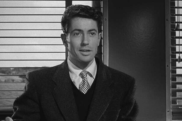 "Farley Granger in Alfred Hitchcock's ""Strangers on a Train"" (1951)."