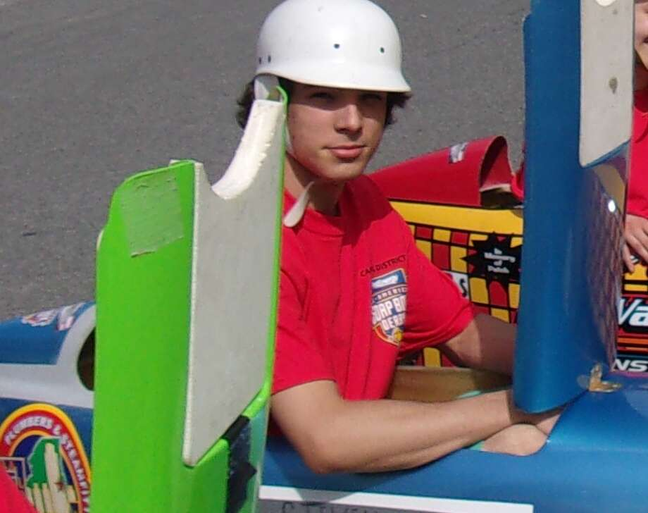 Steven Mallory, winner of the master's category of the Soap Box Derby, held on Franklin Street in Schenectady on June 10. (Submitted) / Copyright 2008