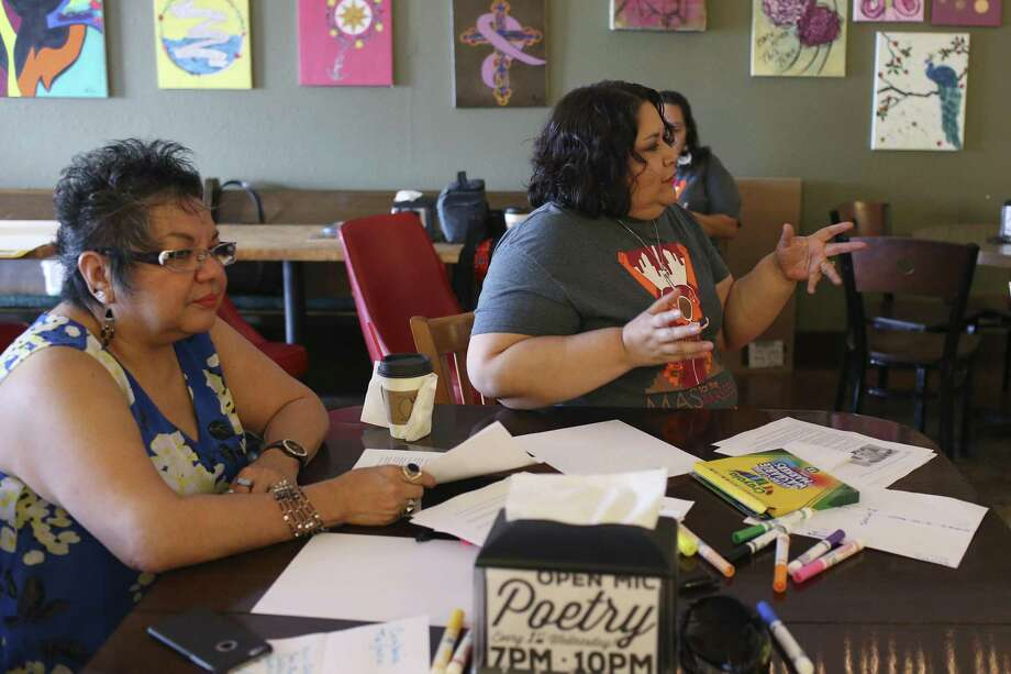 Instructors Patricia Castillo (left) and Lisa Knecht talk about Mexican-American lore with South San Antonio Independent School District students at Barrio Barista earlier this month. The MAS for the Masses two-week workshop aims to teach Mexican-American students about their history and culture. Photo: Jerry Lara /San Antonio Express-News / © 2017 San Antonio Express-News