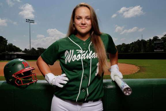 Kelcy Leach, the Chronicle's softball hitter of the year, at her home field at The Woodlands High School in The Woodlands, TX, June 17, 2017. (Michael Wyke / For the  Chronicle)