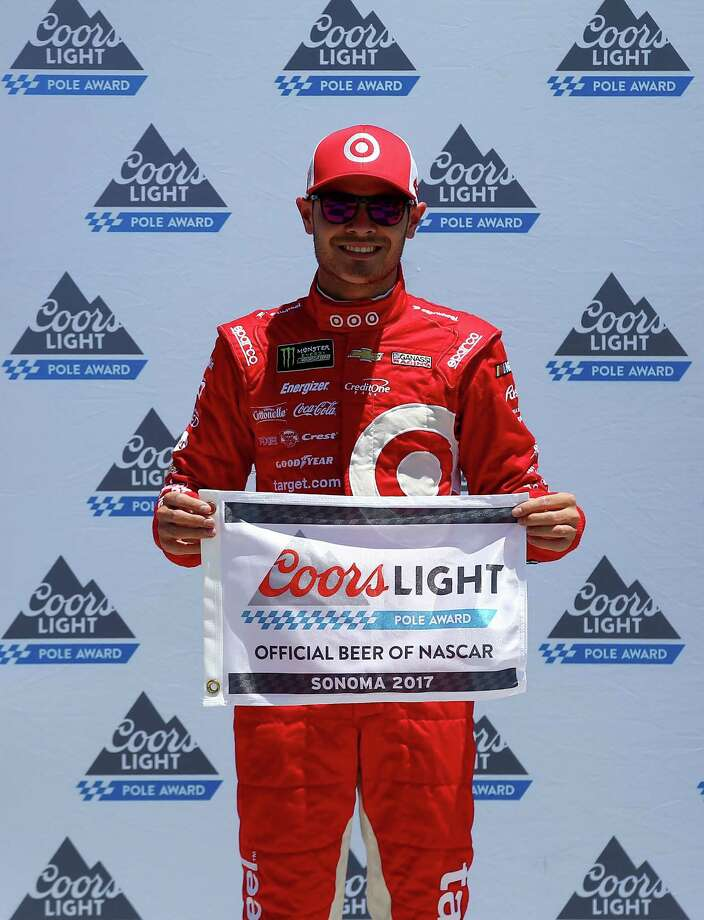 SONOMA, CA - JUNE 24:  Kyle Larson, driver of the #42 Target Chevrolet, poses with the Coors Light Pole Award after qualifying for the Monster Energy NASCAR Cup Series Toyota/Save Mart 350 at Sonoma Raceway on June 24, 2017 in Sonoma, California.  (Photo by Sarah Crabill/Getty Images) ORG XMIT: 700069003 Photo: Sarah Crabill / 2017 Getty Images