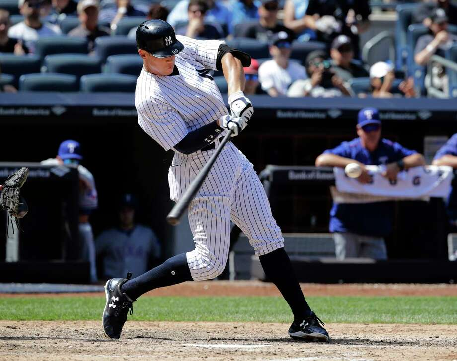 New York Yankees' Aaron Judge (99) hits a home run during the sixth inning of a baseball game against the Texas Rangers Saturday, June 24, 2017, in New York. (AP Photo/Frank Franklin II) ORG XMIT: NYY112 Photo: Frank Franklin II / Copyright 2017 The Associated Press. All rights reserved.