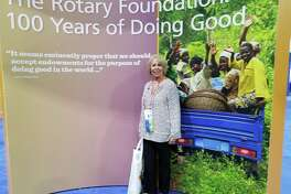 Cleveland Rotarian and District 5910 Assistant Governor Ernestine Belt proudly represented the club and district at the Rotary International Convention in Atlanta, Ga. Approximately 45,000 people attended, with more than 500 clubs and 200 countries represented. Speakers Bill Gates, retired CEO of Microsoft, and Professional Golfer Jack Nicklaus spoke on polio eradication, long a goal of Rotary International. Actor Ashton Kutcher brought attention to ending human trafficking, a problem centered in our area of the country. Belt returned with increased enthusiasm and dedication to Rotary.