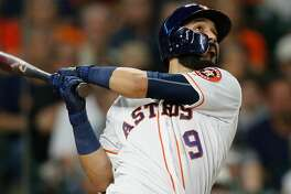 HOUSTON, TX - MAY 25:  Marwin Gonzalez #9 of the Houston Astros hits a home run in the fourth inning against the Detroit Tigers at Minute Maid Park on May 25, 2017 in Houston, Texas.  (Photo by Bob Levey/Getty Images)