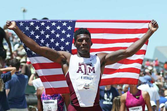 Texas A&M sprinter Fred Kerley will represent the United States at the world championships after winning the 400 meters in the U.S. nationals Saturday.