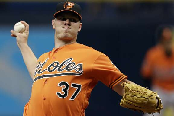 Baltimore Orioles starting pitcher Dylan Bundy (37) delivers to the Tampa Bay Rays during the first inning of a baseball game Saturday, June 24, 2017, in St. Petersburg, Fla. (AP Photo/Chris O'Meara)