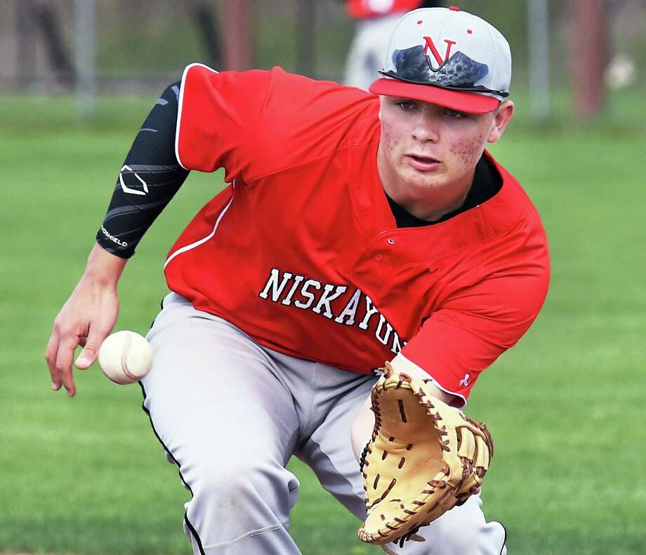 Niskayuna's Tyler Senecal takes infield practice before the start of their game against CBA Wednesday May 3, 2017 in Colonie, NY.  (John Carl D'Annibale / Times Union) Photo: John Carl D'Annibale / 20040390A