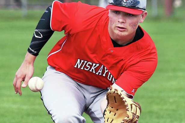 Niskayuna's Tyler Senecal takes infield practice before the start of their game against CBA Wednesday May 3, 2017 in Colonie, NY.  (John Carl D'Annibale / Times Union)