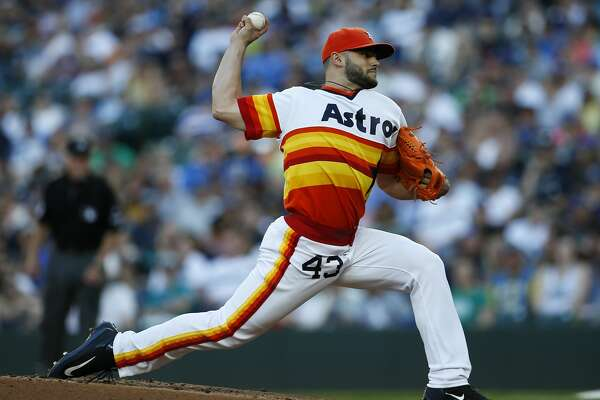 Houston Astros starting pitcher Lance McCullers Jr. throws to the Seattle Mariners during the first inning of a baseball game Saturday, June 24, 2017, in Seattle. (AP Photo/Jason Redmond)