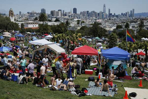 The 25th annual Dyke March rally at Dolores Park on Saturday, June 24, 2017, in San Francisco, Calif.