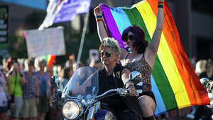 Dykes on Bikes prepare for their ride for the Dyke March during PrideFest Capitol Hill on Saturday, June 24, 2017.