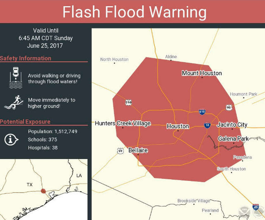 A flash flood warning has been issued for Central Harris County until 6:45 a.m. Expect high water on the roads until mid to late morning. Click the gallery to see high water spots to avoid in Houston when it rains.