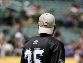 Kevin Durant danes a baseball cap with a cupcake on it during the Juglife Javale McGee Celebrity Softball Game in the Oakland-Alameda County Coliseum in Oakland on Saturday, June 24, 2017.