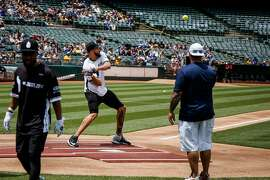 Javale McGee prepares his swing during the homer derby before the Juglife Javale McGee Celebrity Softball Game in the Oakland-Alameda County Coliseum in Oakland on Saturday, June 24, 2017.
