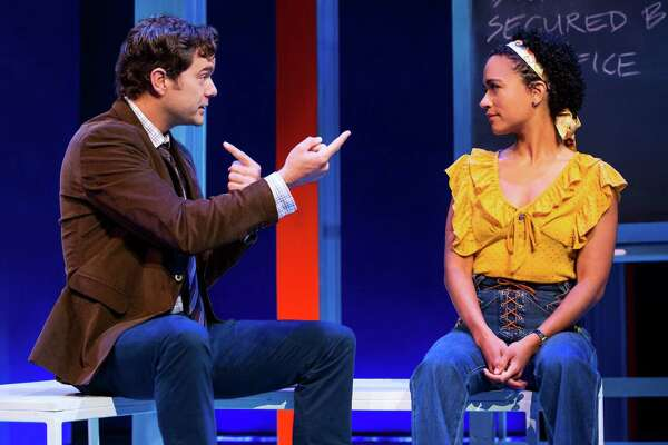 "Joshua Jackson and Lauren Ridloff in ""Children of a Lesser God"" at Berkshire Theatre Group. (BTG publicity photo by Matthew Murphy.)"