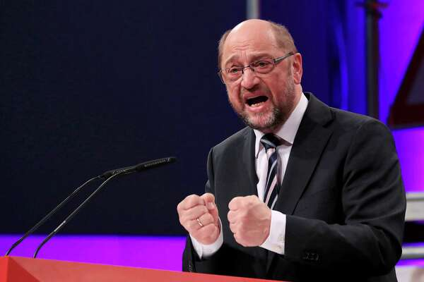 Martin Schulz, Social Democrat Party (SPD) candidate for German chancellor, speaks during a SPD labour conference in Bielefeld, Germany, on Feb. 20. Schulz is challenging Angela Merkel for the chancellorship.