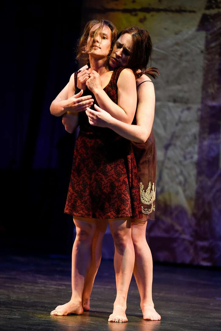 """Sonja Dale (front) as Anna II and soprano Laura Bohn as Anna I in """"The Seven Deadly Sins"""" at Festival Opera"""