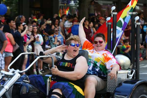 Seattle Pride Parade takes over downtown Seattle on June 25, 2017.