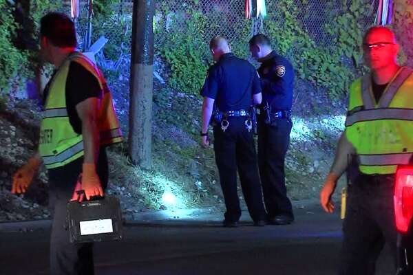 San Antonio police investigate a hit-and-run on the North Side Sunday June 25, 2017.