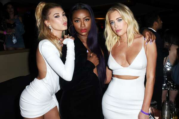LOS ANGELES, CA - JUNE 24: (L-R) Hailey Baldwin, Justine Skye, and Antje Utgaard attend the 2017 MAXIM Hot 100 Party at Hollywood Palladium on June 24, 2017 in Los Angeles, California.  (Photo by Vivien Killilea/Getty Images for Karma International)