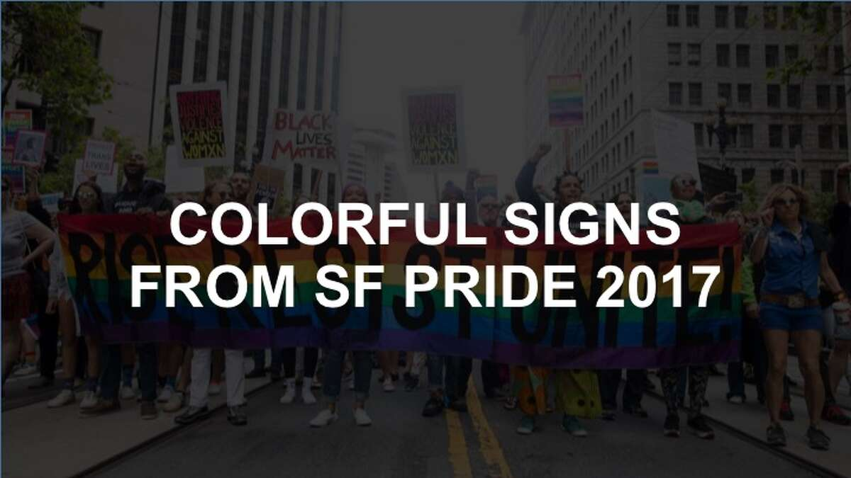 Click on to see a selection of rainbow-clad San Franciscans and their signs.