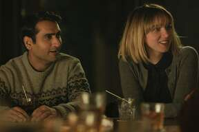 """This image released by Lionsgate shows Kumail Nanjiani, left, and Zoe Kazan in a scene from, """"The Big Sick.""""  (Lionsgate via AP)"""