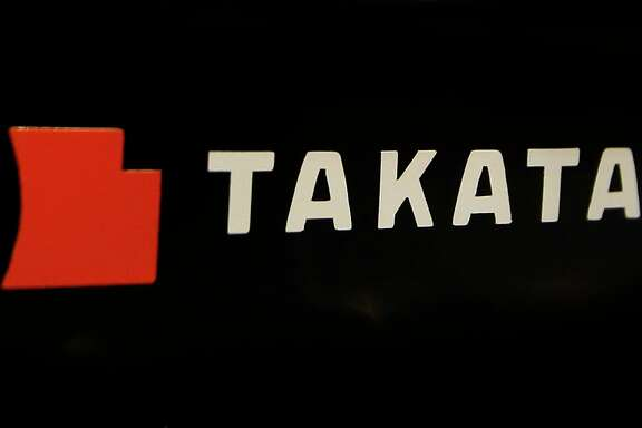FILE - This July 6, 2016, file photo, shows the logo of Takata Corp. at an auto supply shop in Tokyo. Drowning in a sea of lawsuits and recall costs, Japanese air bag maker Takata Corp. is expected to seek bankruptcy protection in Tokyo and the United States early Monday, June 26, 2017. (AP Photo/Shizuo Kambayashi, File)