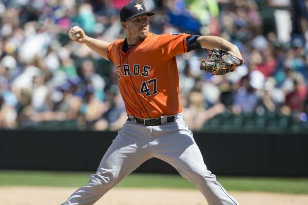 SEATTLE, WA - JUNE 25: Reliever Chris Devenski #47 of the Houston Astros delivers a pitch during the fifth inning of a game  against the Seattle Mariners at Safeco Field on June 25, 2017 in Seattle, Washington. (Photo by Stephen Brashear/Getty Images)