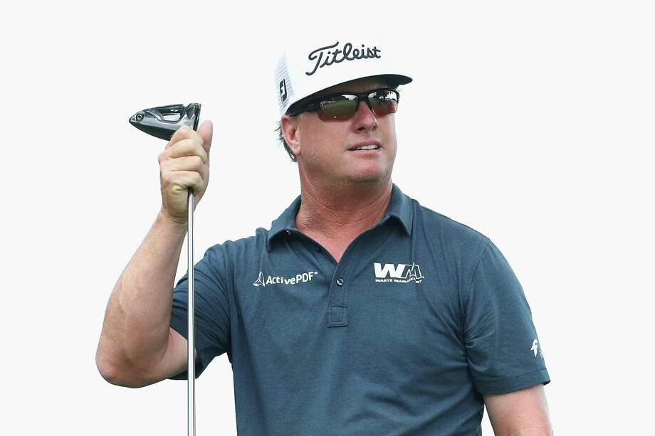 Charley Hoffman reacts after playing his shot from the ninth tee during the final round of the Travelers Championship on Sunday in Cromwell. Photo: Maddie Meyer / Getty Images / 2017 Getty Images