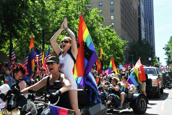 The Dykes on Bikes lead the Seattle Pride Parade, Sunday, June 25, 2017.