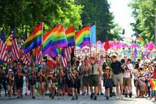 The Boy Scouts of America lead the Seattle Pride Parade, Sunday, June 25, 2017.