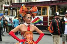 A colorful dress made of Trump images was a showstopper at San Francisco Pride Parade on Sunday.