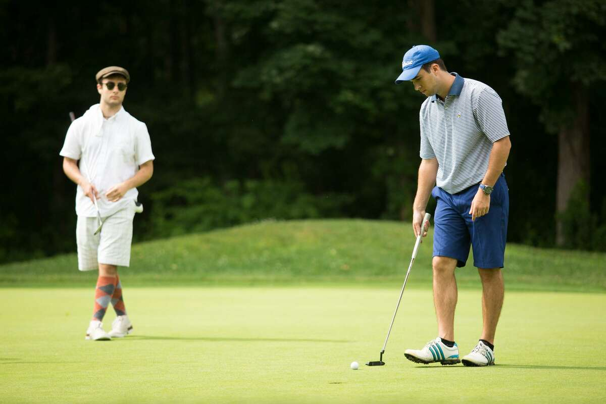 Dario Orlando lines up his putt during the Town Tournament at the Griffith E. Harris Golf Club in Greenwich, Conn. on Sunday, June 25, 2017.