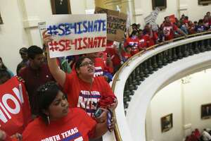 Protesters against Senate Bill 4 gather at the state Capitol in late May. The so-called sanctuary cities bill was signed into law by Gov. Greg Abbott and is to take effect Sept. 1.