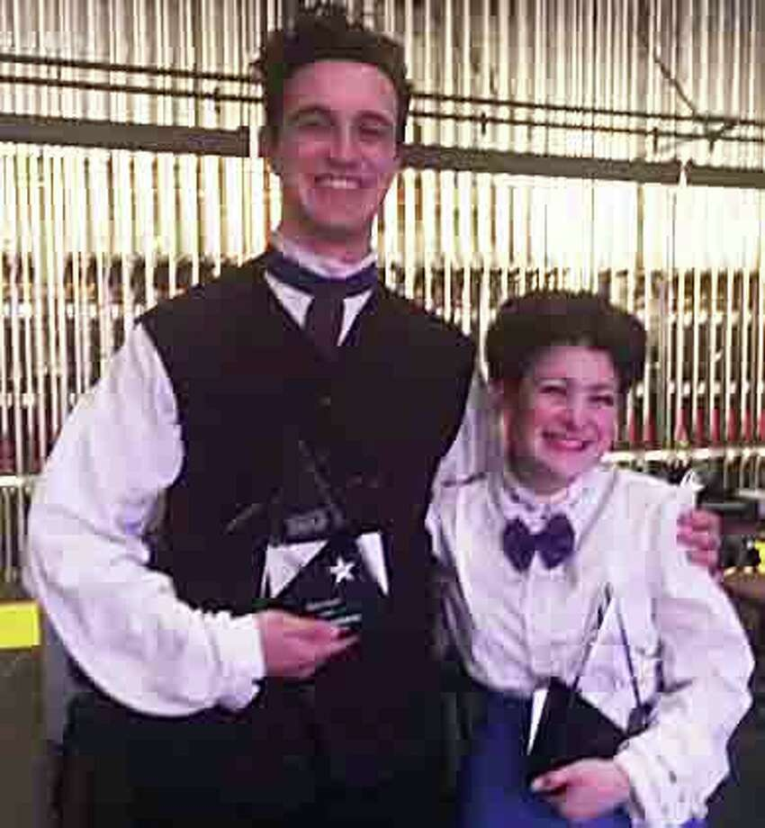 "Patrick Shannon, Best Actor winner for Queensbury's ""Les Miserables,"" and Jaynie Parmenter, Best Actress winner for Voorheesville's ""Mary Poppins,"" backstage after Saturday's High School Musical Theatre Awards. (Times Union) ORG XMIT: MER2017052021083719 Photo: Times Union"