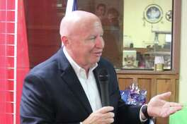 U.S. Rep. Kevin Brady explains the projects under the House Ways and Means Committee during a meeting at the Paradise Grille in Coldspring.