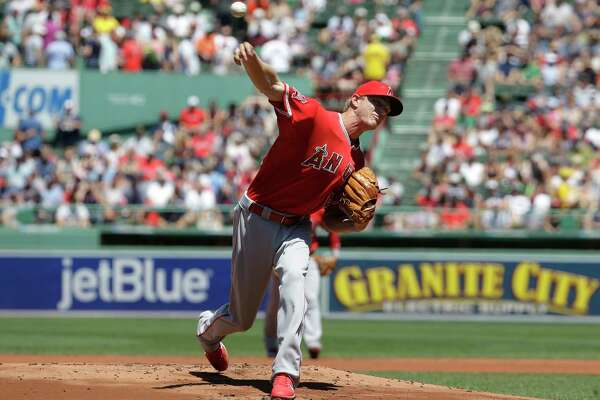 Los Angeles Angels' Parker Bridwell delivers a pitch against the Boston Red Sox in the first inning of a baseball game, Sunday, June 25, 2017, in Boston. (AP Photo/Steven Senne) ORG XMIT: MASR101