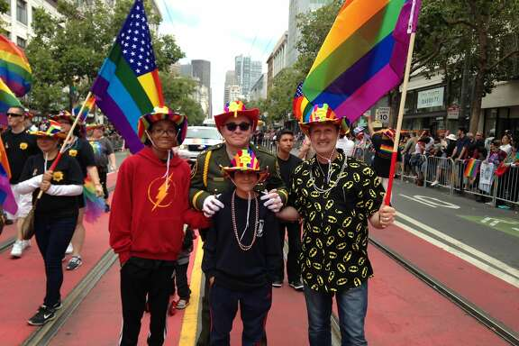 Kevin Fisher-Paulson and his family at Pride 2017.