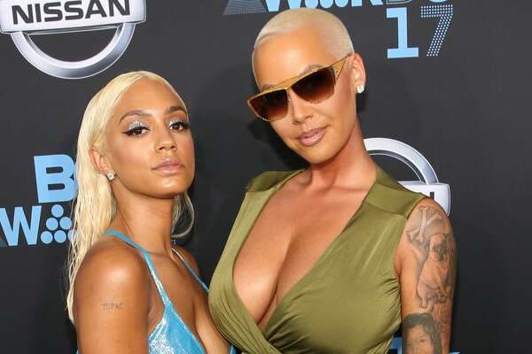 Amber Rose (R) at the 2017 BET Awards at Staples Center on June 25, 2017 in Los Angeles, California.