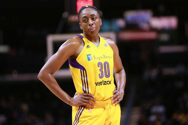 LOS ANGELES, CA - JUNE 13:  Nneka Ogwumike #30 of the Los Angeles Sparks looks on during a time out against the Dallas Wings during a WNBA basketball game at Staples Center on June 13, 2017 in Los Angeles, California.  (Photo by Leon Bennett/Getty Images)