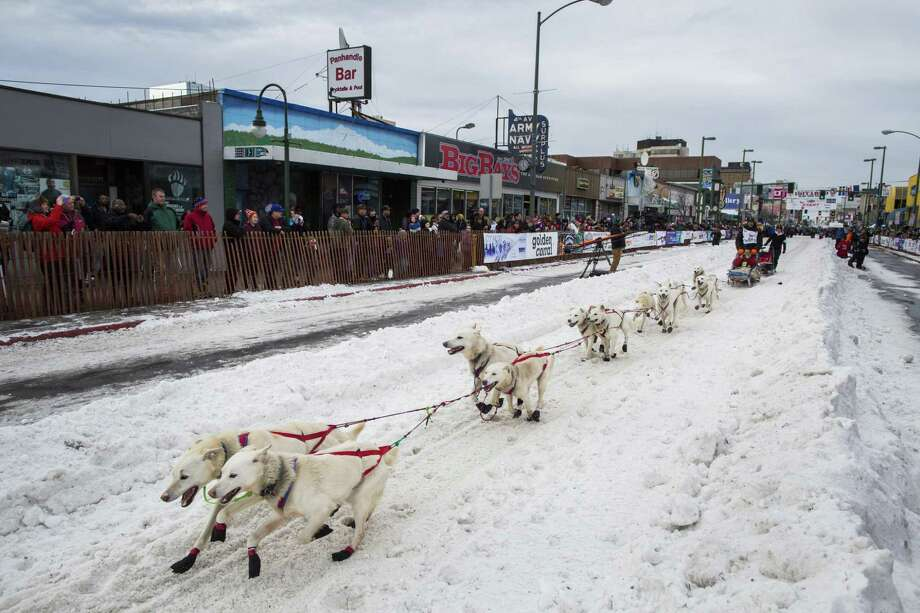 A competitor during the ceremonial start of the annual Iditarod winter festival in Anchorage, Alaska, on March 5, 2016. Photo: Katie Orlinsky /New York Times / NYTNS