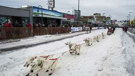 A competitor during the ceremonial start of the annual Iditarod winter festival in Anchorage, Alaska, on March 5, 2016.