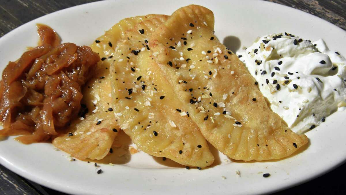 Everything bagel pirogues at Comfort Kitchen in the Saratoga Marketplace on Broadway Friday May 12, 2017 in Saratoga Springs, NY.