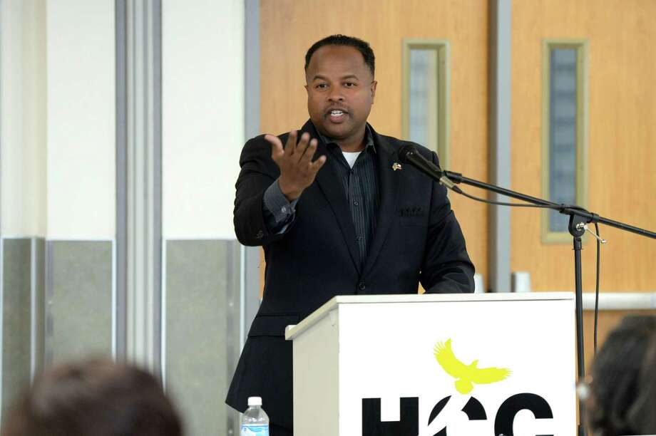 State Representative Ron Reynolds addresses participants during a panel discussion regarding single member districts for the Ft. Bend ISD Board of Trustees at the Houston Community College, Stafford, TX on June 22, 2017. Photo: Craig Moseley, Staff / ©2017 Houston Chronicle