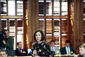 "State Sen. Lois Kolkhorst introduces her legislation, the so called ""bathroom bill,"" on the floor of the Senate on March 14, 2017."