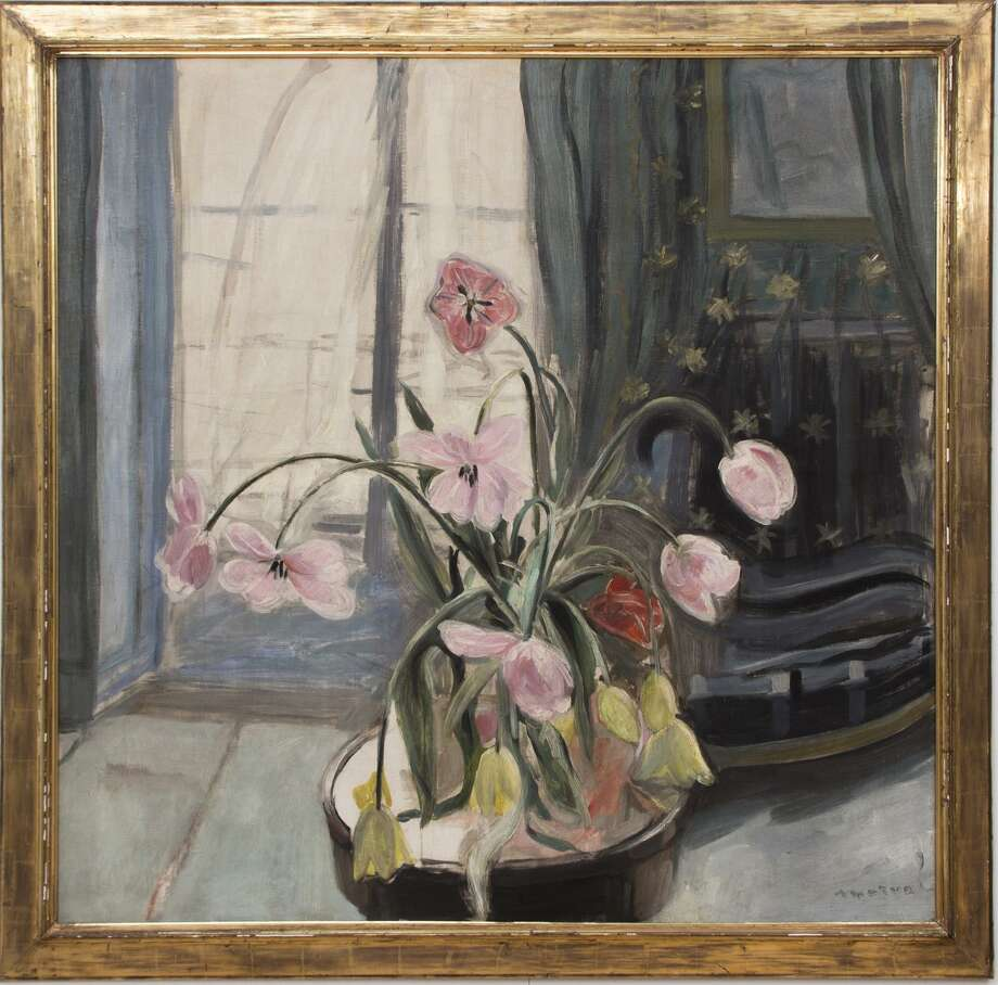 "Legendary Rolling Stones guitarist Keith Richards and his wife, Patti Hansen, donated items from their upper East Side Manhattan apartment to nonprofits SPHERE of CT and Prospector Theater in Ridgefield. With a winning bid of $15,000, French painter Jacquelin Marval's 1918 oil on canvas work ""Bouquet of Tulips to the Window,"" commanded the highest price at the auction. Photo: Contributed Photo / Contributed Photo / Connecticut Post Contributed"