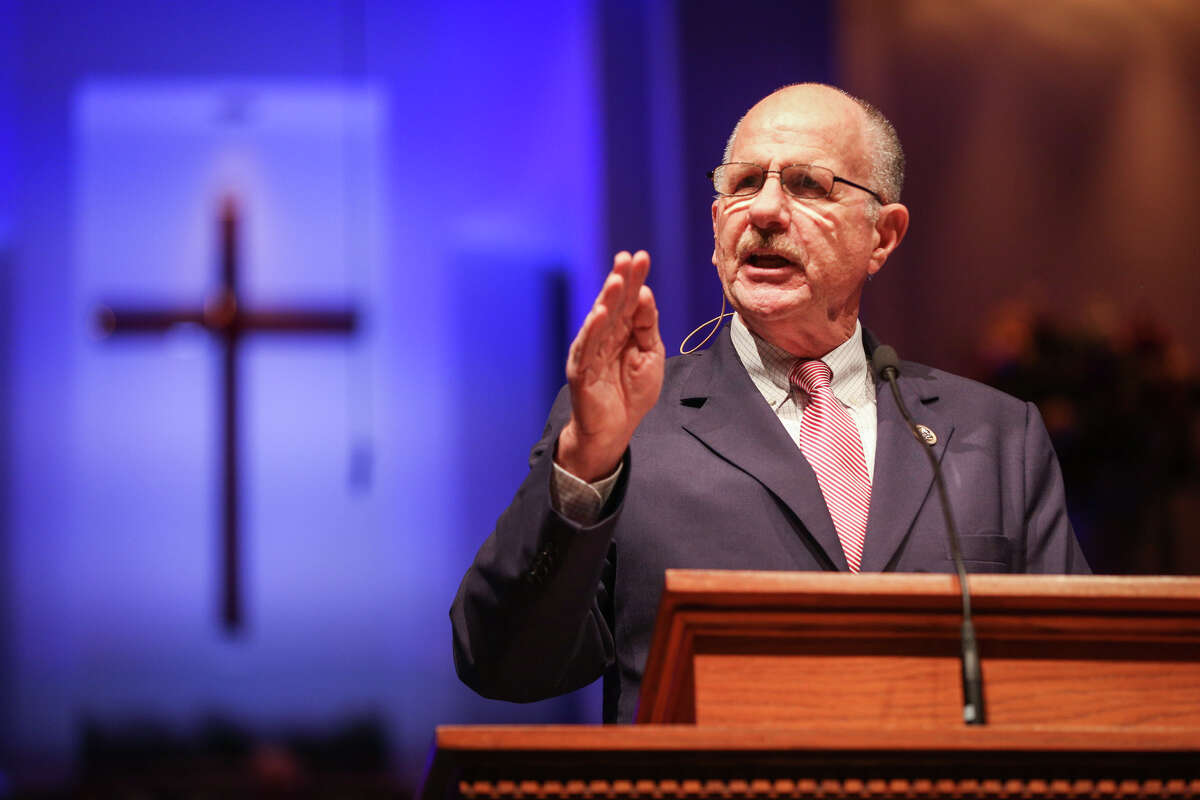 U.S. Rep. Ted Poe, R-Humble, gives the keynote speech during the Celebrate America event on June 25 at Mims Baptist Church in Conroe.