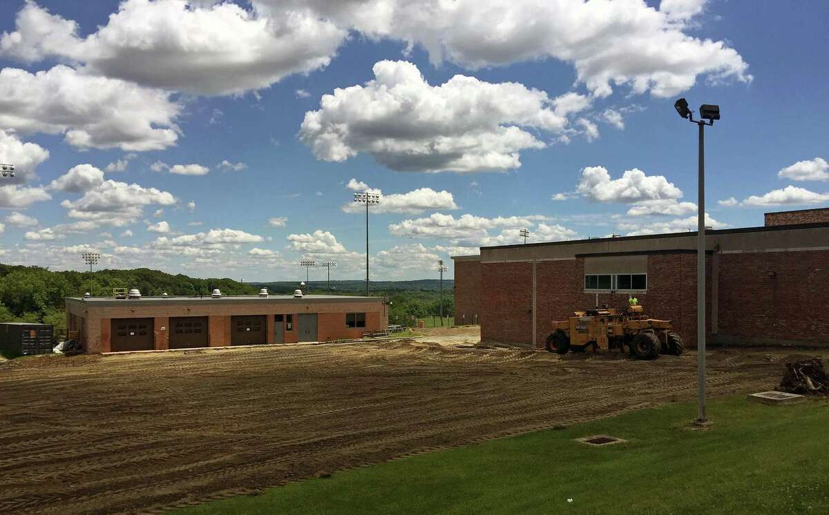 The parking lot will be rebuilt as part of the $50 million expansion project at Danbury High School.