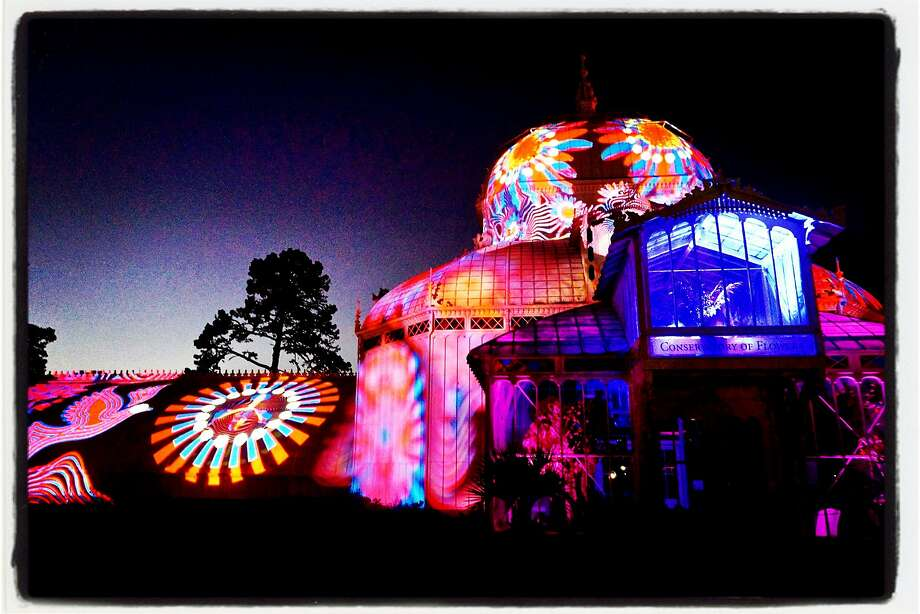 The Conservatory of Flowers now features an Illuminate-sponsored Obscura Digital light show every evening at sundown through Oct. 21. Photo: Catherine Bigelow, Special To The Chronicle