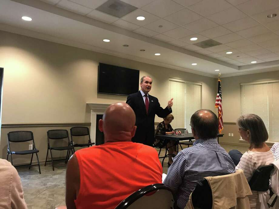 District 132 state Rep. Mike Schofield, R-Katy,speaks to constituents at a town hall meeting in Cypress on June 21. Photo: Sebastian Herrera